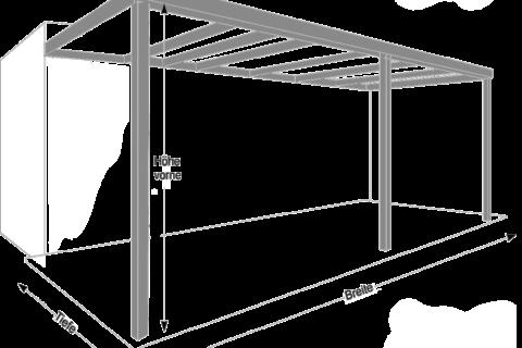 Terrassendach Abmessung